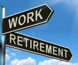 Work Or Retire Signpost Showing Choice Of Working Or Retirement | צילום: Depositphotos